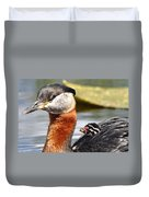 Red-necked Grebe And Chick Duvet Cover