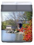 Red October On The Lake Duvet Cover