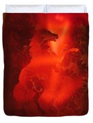 Red On Red Horse Duvet Cover