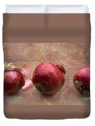 Red Onions On Barnboard Duvet Cover