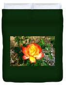 Red Orange And Yellow Rose Duvet Cover