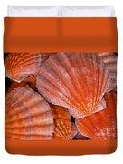 Red Orange Sea Shells Duvet Cover