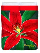 Red Oriental Daylily Duvet Cover