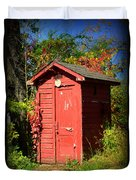 Red Outhouse Duvet Cover