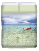 Red Outrigger Canoe Duvet Cover