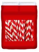 Red Paper Straws Duvet Cover