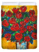 Red Passion Roses Duvet Cover by Ana Maria Edulescu