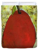 Red Pear Circle Pattern Art Duvet Cover by Blenda Studio