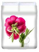 Red Peony Flower Back Duvet Cover