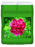 Red Peony Flower Duvet Cover