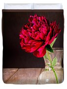 Red Peony Flower Vase Duvet Cover by Edward Fielding