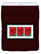 Red Peony Triptych Duvet Cover