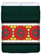 Red Peppered Sunshine - Abstract - Triptych Duvet Cover