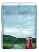 Red Phone Box On Rural Road Duvet Cover