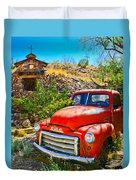 Red Pickup Truck At Santa Fe Duvet Cover