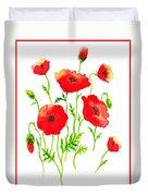 Red Poppies Botanical Design Duvet Cover
