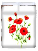 Red Poppies Decorative Collage Duvet Cover