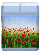 Red Poppies Green Field And A Blue Blue Sky Duvet Cover