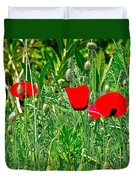 Red Poppies Near Meryem Ana Evi-cottage Believed To Be Mary's Last Home-turkey Duvet Cover