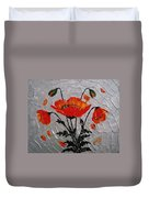 Red Poppies Original Palette Knife Duvet Cover
