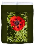 Red Poppy And Bee Duvet Cover