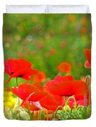 Red Poppy Flowers Meadow Art Prints Duvet Cover