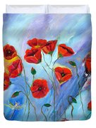 Red Poppy With Dragonfly Duvet Cover