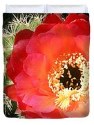 Red Prickly Pear Blossom Duvet Cover
