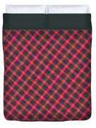 Red Purple And Green Diagonal Plaid Textile Background Duvet Cover