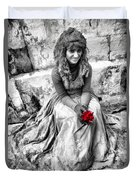 Red Red Rose In Black And White Duvet Cover