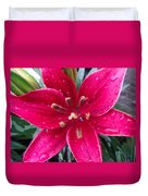 Red Refreshed Lily Duvet Cover