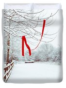 Red Ribbon In Tree Duvet Cover by Amanda Elwell