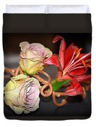Purple Roses And Red Lily Duvet Cover