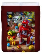 Red Robot And Marbles Duvet Cover