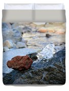 Red Rock And Crystal Water Duvet Cover