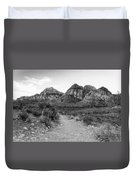 Red Rock Canyon Trailhead Black And White Duvet Cover