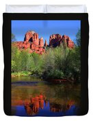 Red Rock Crossing Reflections Duvet Cover