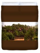 Red Rock Green Forest No3 Duvet Cover