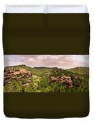 Red Rock Green Forest No2 Duvet Cover