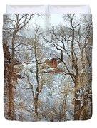 Red Rock Winter Road Portrait Duvet Cover
