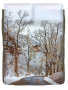 Red Rock Winter Road Portrait Duvet Cover by James BO  Insogna