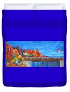 Red Rocks And Railroad Trestle Duvet Cover