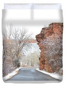Red Rocks Winter Landscape Drive Duvet Cover by James BO  Insogna
