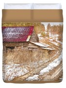 Red Roof In The Snow  Duvet Cover