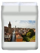 Red Roofs Of Europe - Venetian Canal Palaces Gardens And Courtyards Duvet Cover