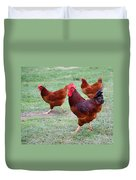 Red Rooster And Hens Duvet Cover