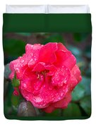 Savannah Ga Red Rose After A Rain Duvet Cover