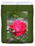 Red Rose And Dewtrops Duvet Cover