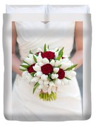 Red Rose And White Tulip Wedding Bouquet Duvet Cover