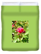 Pink Rose Buds Duvet Cover